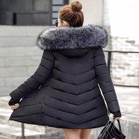 Giacca da donna in basso Parks Wholesale-Winter Giacca da donna 2021 Fashion Ispessimento caldo Inverno Parka Long Cappotto lungo Slim Cappuccio Cappotto Cappotto1