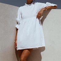 Mulheres Ruffles Cintura Elástica Loose Reta Mini Mini Vestidos Meia Camisa Vestido Outono Moda Mulher Boho Sundress LJ200808