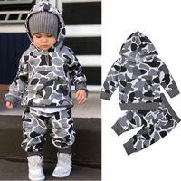 Ropa de bebé ropa de camuflaje conjunto de camuflaje de manga larga con capucha Pantalones de capucha 2 PCS Moda para niños use invierno trajes de otoño