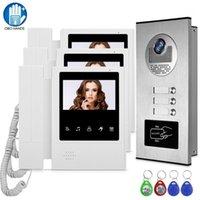 """Telefones da porta de vídeo 4.3 """"Monitor de telefone com fio do sistema de campainha com câmera do painel de chamada ao ar livre RFID para multi-apartamentos / famílias1"""