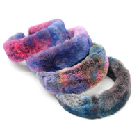 4 couleurs fourrure de lapin Bandeaux Bandeaux couleur arc-en-Hairband Fête d'hiver Bijoux Bandeau de cadeau de Noël Piques à cheveux GGA3765-2