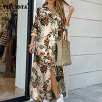 Kadınlar Zarif Düğme Aşağı Uzun Gömlek Elbise Yaz Zincir Baskı Yaka Boyun Parti Elbise Rahat Uzun Kollu Maxi Plaj Elbise Vestido X1224