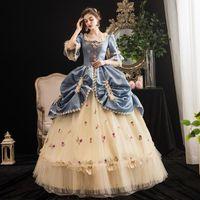 Party Kleider 2021 EST Gelb Blue Christmas Dress Theater Kostüme Mittelalterliches Quadratmasker Masquerade Kleid angepasst