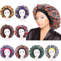 Большой атласной сна Cap Night Hat Африканская Женщина печать волосы Bonnet индийского тюрбан Широкого диапазон NightCap головного платок Шапочка шапочка для душа