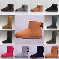 2020 Australia Classic UGG Winter Warm Boots Kış Siyah Kestane Boot Casual Platformu Ayakkabı 36-41 için 2020 Moda Erkekler Kadınlar Klasik Kar  Bow Tasarımcı Boots