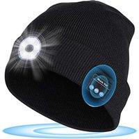 الكرة قبعات الشتاء قبعة قبعة للجنسين لينة الأسود محبوك اللاسلكية بلوتوث 5.0 سماعات رأس سماعات ستيريو سماعة ستيريو مع ضوء الصمام