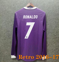 Retro 2016 2017 Gerçek Madrid Futbol Forması Ronaldo Benzema Futbol Gömlek 2016 James Vintage Sergio Ramos Balya Uzun Kollu Futbol Gömlek