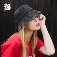 [FLB] Estate 100% cotone lavato denim Cappello per il sole donne Moda floppy esterna Cap signore Tesa larga Beach Bucket Hats F157 all'ingrosso