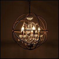 الرجعية خمر الصدأ الحديد قفص الثريات e14 كبير نمط كريستال الثريا بريق الصمام مصباح الإضاءة لغرفة المعيشة نوم شريط شحن مجاني