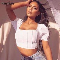 Hawthaw Kadınlar Yaz Moda Kısa Kollu Kare Yaka Beyaz Topuz Renk Sıska Katmanlar T Gömlek Kısa Tops Tees 2020 Giyim