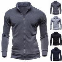 2020 neuesten Männer mit Reißverschluss oben beiläufige elastische Strickjacke-Mantel-Jacke Outwear Pullover Jogger Zipper Men Herbst-Winter Hoodie Sweatercoat