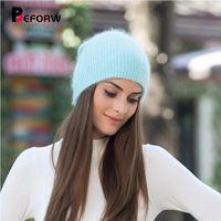 Mütze / Schädel-Kappen vor dem Wurzelherbst-Winter-Hüte für Frauen Männer Massivfell warme Beanie gestrickt Wollmützen Erwachsene Casual-Skullies