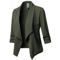 Mujeres de manga larga Fabala Coat Formal Top Jacket de otoño Sólido Ruffle Fashion Open