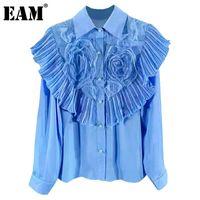 Женщины Блузки Рубашки [EAM] Женщины Blue Flower Pattern ruffles Blouse отворот с длинным рукавом Свободная подходящая рубашка мода прилив весна осень 2021 1