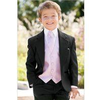 2021 Fashion Little Boy Tuxedos Notch Lapel Children Suit Black Kid Ring Wedding Prom Suits Boy's Formal Wear (Jacket+Pants+Tie+Vest) AL7244