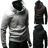 2020 Mode masculine Couleur Solide Manches longues à manches longues diagonales Coton Sports Sports Sportswear Gym Jersey