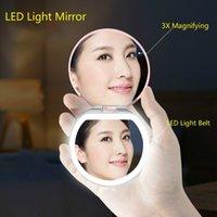 화장품 미니 휴대용 주머니 LED 메이크업 미러 가벼운 충전식 손으로 컴팩트 3x 돋보기 메이크업 접이식 아름다움 미러 Y200114