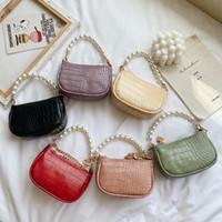 Neue Mode Kinder Prinzessin Handtaschen Mädchen Pearl Krokodilkette Mini Messenger Bags Kinder PU Metallkette Eine Umhängetasche C6692