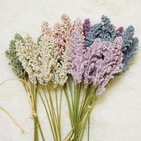 Flores decorativas grinaldas 6 pcs / pacote de grãos artificiais espinhos pequenos frescos com grama natural casamento pastoral decoração de casa