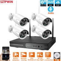 4CH 3.0Mpaudio CCTV Sistema sem fio 1080P NVR 4 pcs 3.0MP IR ao ar livre P2P WiFi IP CCTV Security Camera System Kit de vigilância Builtin 1TB HDD