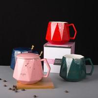Copa de café retro de cerámica Taza de té de la taza de agua con tazas de tazas de tazas con tazas con cuchara Caja de regalo de cumpleaños W-00658