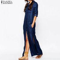 Рубашка ZANZEA Крупногабаритные Женская мода Джинсовый синий нагрудные платье с длинным рукавом Повседневная Сыпучие Split Maxi платья Vestidos Robe Femme