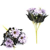 Flores decorativas grinaldas estilo europeu mini daisy imitação flor pintura a óleo crisântemo casamento casamento decoração artificial