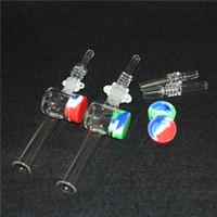 Conseils de quartz Nectar Collectionnelle DAB Brochette en verre avec conteneur en silicone Canton de cire Concentré de paille de draw 10 mm 14mm