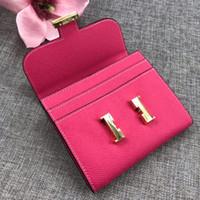 Luxurys Конструкторы Сумка Мужчины Женщина Wallet 100% натуральная кожа мини-сумка кошелек карта сумка черного цвета Розового 7 с коробкой