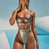 Einteiliger Badeanzug Aushöhlen Swimwear Frauen Bikinis Gürtelte Gold Farbe Monokini Push Up Sexy Trikini High Cut Bating Anzug W1221