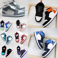 Nike air jordan 1 Kid Basketball Shoes Running shoes Jogo Real Scotts Obsidian Chicago Bred Sapatos Sneakers Melody Mid Multi-Cor Tie-Dye crianças 26-35