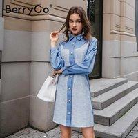Повседневные платья berygo Элегантная синяя кнопка Женщины Вечеринка Платье Сращивание Женский Офис Весна Осень Длинный Рукав Blazer 2021