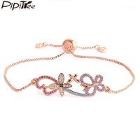 Pipitree Hermosa cadena de cobre rama mariposa encanto pulseras para mujeres micro pulsera de cristal austriaco joyería de boda regalo1