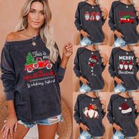 2020 tops de las mujeres impreso alrededor del cuello de manga larga de la mujer suéter con capucha de la moda de impresión de Navidad de cuello redondo de manga larga Pullover
