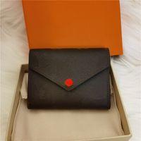 Wholesale portefeuille en cuir pour femme designer multicolore Court portefeuille porte-cartes femme sac à glissière classique poche victorine