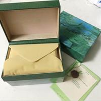 Frete Grátis Verde Luxo Relógio Caixa Original Inner Outer Womans Relógios Caixas Homens WristWatch Book Booklet Cartão