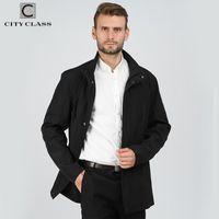 Männer Trench Coats City Class Mode Marke Mantel Lange Jacke Baumwollgepolsterte Warmfeder Herbst Gute Züge Mantel Stehkragen 17041