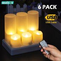 6 Pack LED Бесплатущие свечи Удаленный электрический чай Света поддельных Vela Flame Tiver Timer Tealight Home Decor зарядки или без зарядки LJ201018