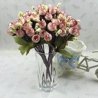 Guirnaldas de flores decorativas Otoño 15 cabezas / Ramo Pequeño brote Roses Simulación Seda Seda Decoraciones para el hogar para la boda 24cm1