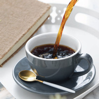 Tasse à café en céramique de 220 ml de tasse de café Cappuccino Latte Tasse à thé de l'après-midi avec soucoupe Tasse à café d'anniversaire CCA3428