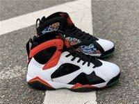 2020 7 HAUTE OG GC Chine Blanc Chili White Chili Red Black Métallique Glow dans le noir 7s Basketballs Chaussures Mens Authentiques Sneakers avec boîte originale