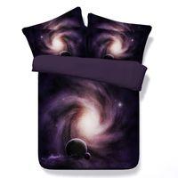 Conjuntos de cama 3D 5 pcs Starry Sky / Lua Space / Galáxia / Black Hole Set com enchimento Twin / Full / Queen / King / Super King Size