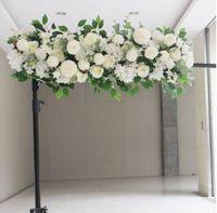 50cm DIY 꽃 행 Acanthosphere 로즈 유칼립투스 웨딩 장식 꽃 장미 모란 수국 식물 믹스 꽃 아치 인공 꽃 행