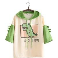 Mujer Sudaderas dinosaurio con cuernos Dulce Estilo de la manga corta de algodón verde con capucha Sudaderas con capucha niñas Imprimir Harajuku Jerseys 201007