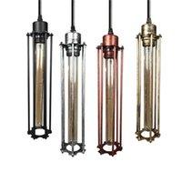 미국 국가 복고풍의 샹들리에는 롱 아이언 프레임 하나의 플루트 펜던트 램프 철 단조 산업 레스토랑 바 유럽 스타일 조명