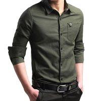 Sıcak Erkekler Rasgele Uzun Kollu Ofis İş Gömlek Slim Fit Erkek Sosyal Biçimsel İş Elbise Gömlek Marka Erkek Giyim