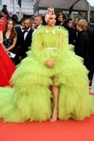Groene tule jurk avondjurk ruches tiered baljurk prom jurken boog hi-lo robe de soiree 2021 rode tapijt feestjurk formele jurk