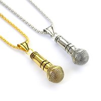 Кулон Ожерелья Большой микрофон Ожерелье Мода Щепка Золотая ссылка цепь хип-хоп Высокое качество сплава Ювелирные изделия для женщин и мужчин