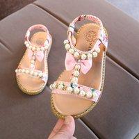 2019 Nova meninas Toes Verão Pérola Sandals desencapados Princesa Sapatos praia Criança Crianças Sapata de bebê sandálias crianças plana