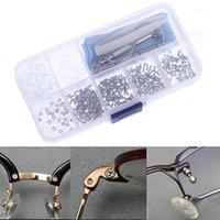 1sEst Kit surtido de gafas de sol herramienta de reparación de gafas Tornillos Conjuntos Tuercas Nariz Pad Partir de reparación óptica Partes 1
